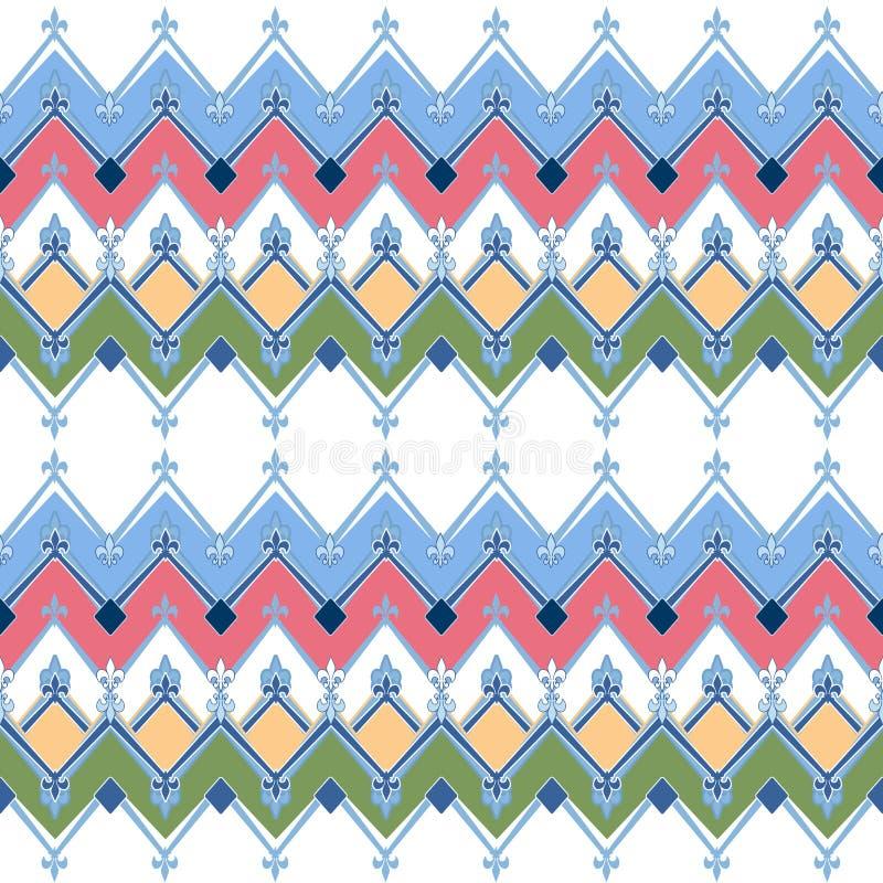 El modelo geométrico inconsútil con las materias textiles de los zigzags diseña b retro libre illustration