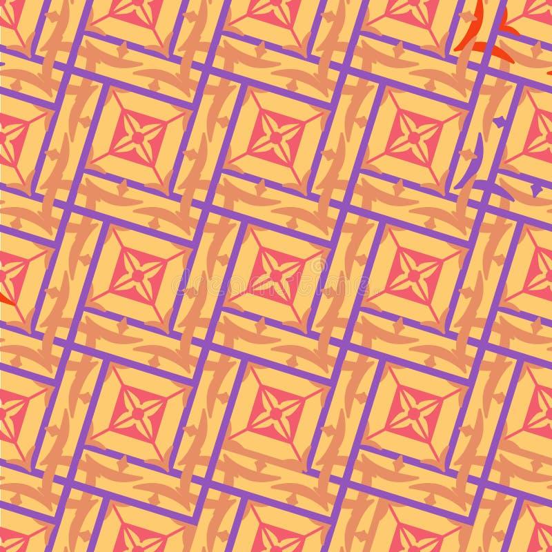El modelo geométrico inconsútil de entrelazar ajusta en beige con un esquema púrpura libre illustration