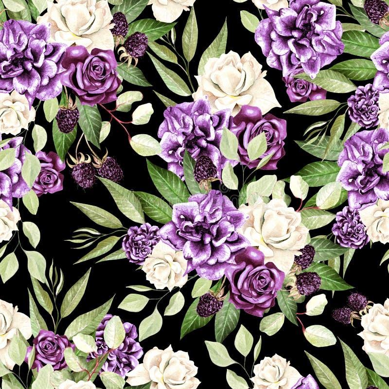 El modelo hermoso de la acuarela con las flores subió y la zarzamora, eucalipto se va stock de ilustración