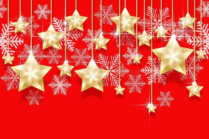 El modelo horizontal inconsútil de la Navidad con oro de la ejecución protagoniza y los copos de nieve Años Nuevos brillantes de  libre illustration