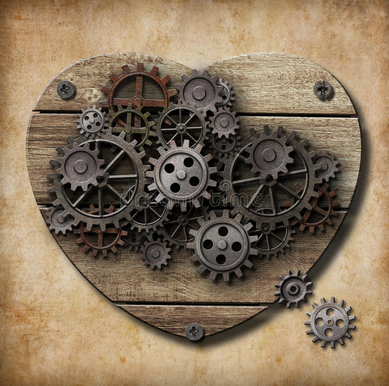 El modelo humano envejecido del corazón hecho del metal adapta libre illustration