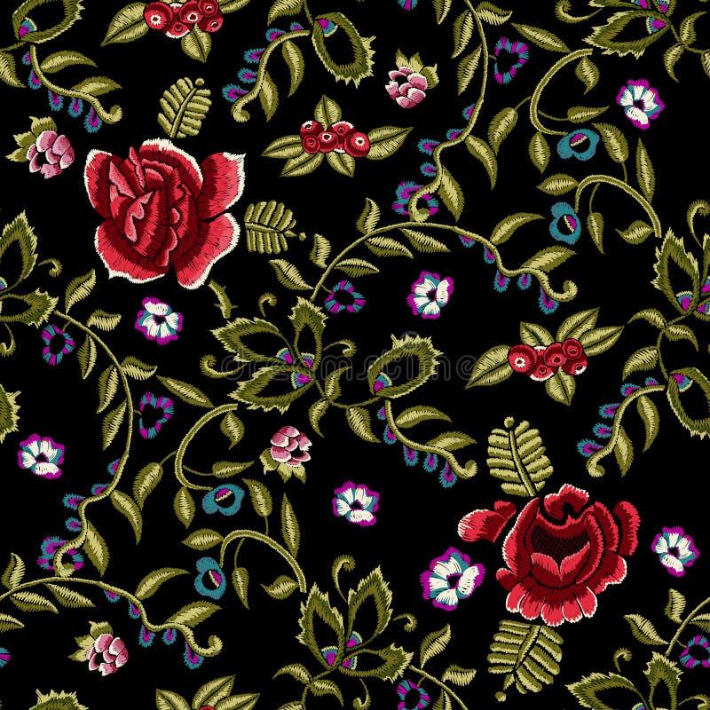 El modelo inconsútil étnico del bordado con simplifica rosas rojas y la sorba stock de ilustración