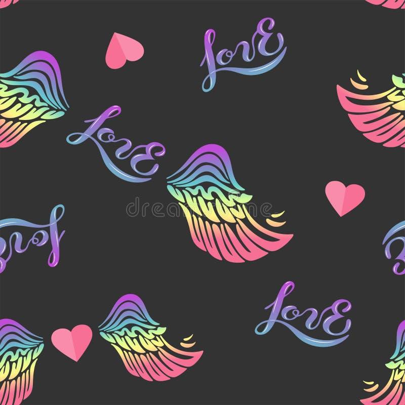 El modelo inconsútil con el arco iris se va volando, corazón, hendwritten amor ilustración del vector