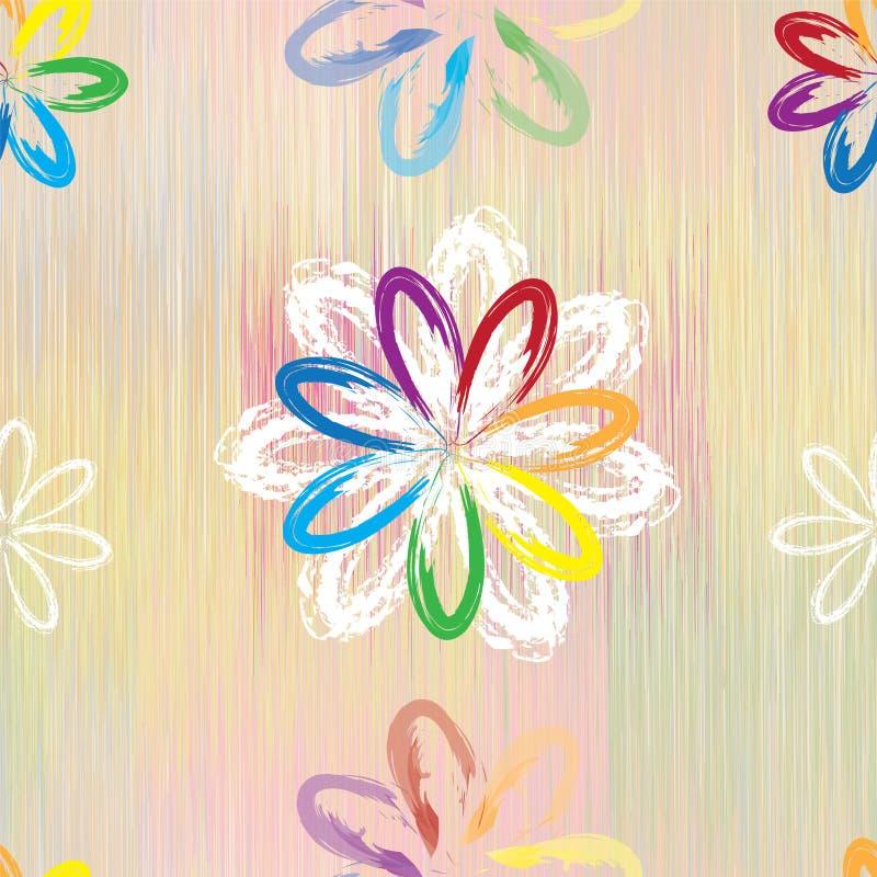 El modelo inconsútil con el arco iris abstracto florece en el fondo rayado grunge colorido e libre illustration