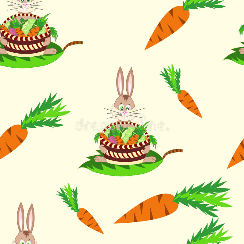 El modelo inconsútil con el conejo y las verduras: zanahorias, remolachas ilustración del vector