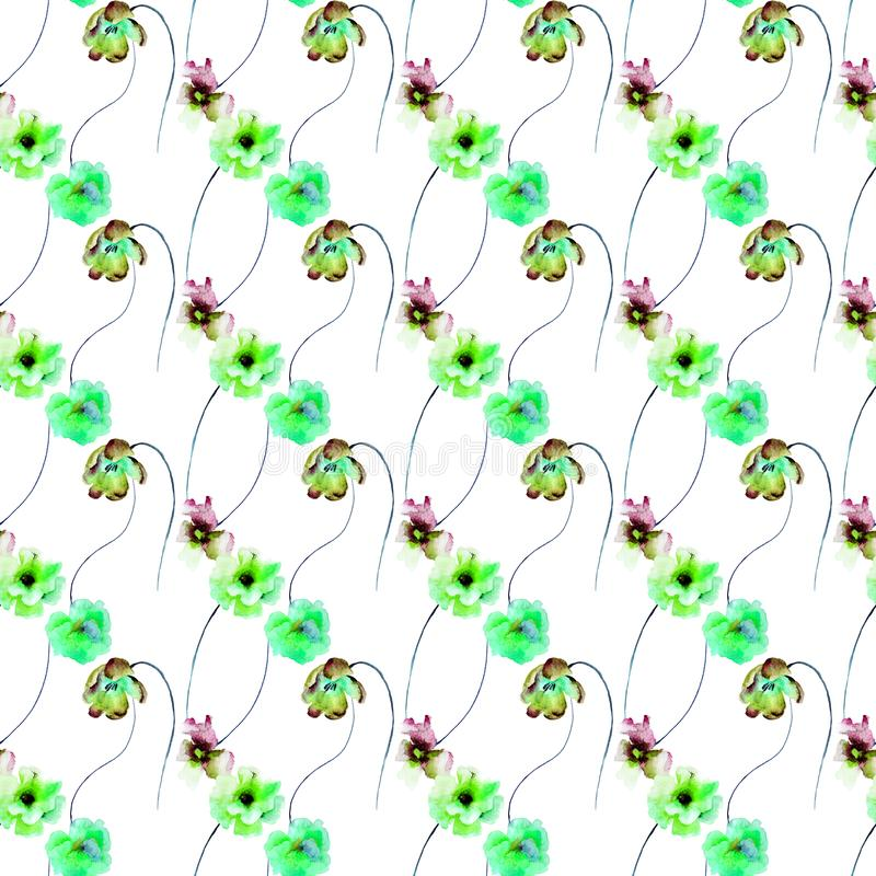 El modelo inconsútil con Gerber, el tulipán y las amapolas florece ilustración del vector
