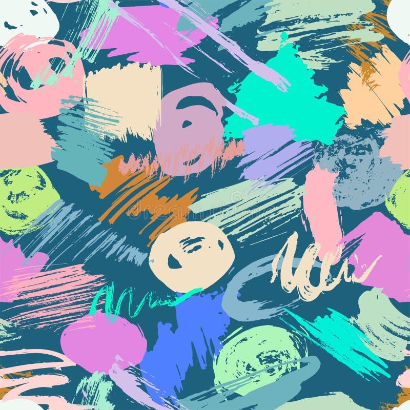 El modelo inconsútil con la acuarela abstracta mancha, los movimientos a pulso de las brochas libre illustration