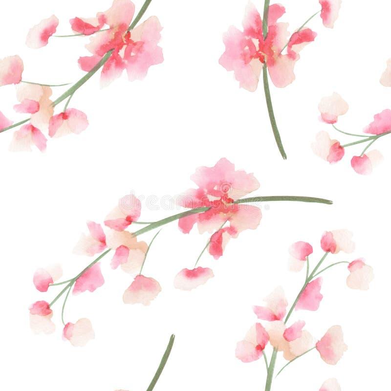 El modelo inconsútil con la acuarela ramifica con las flores rosadas y rojas del delfinio libre illustration