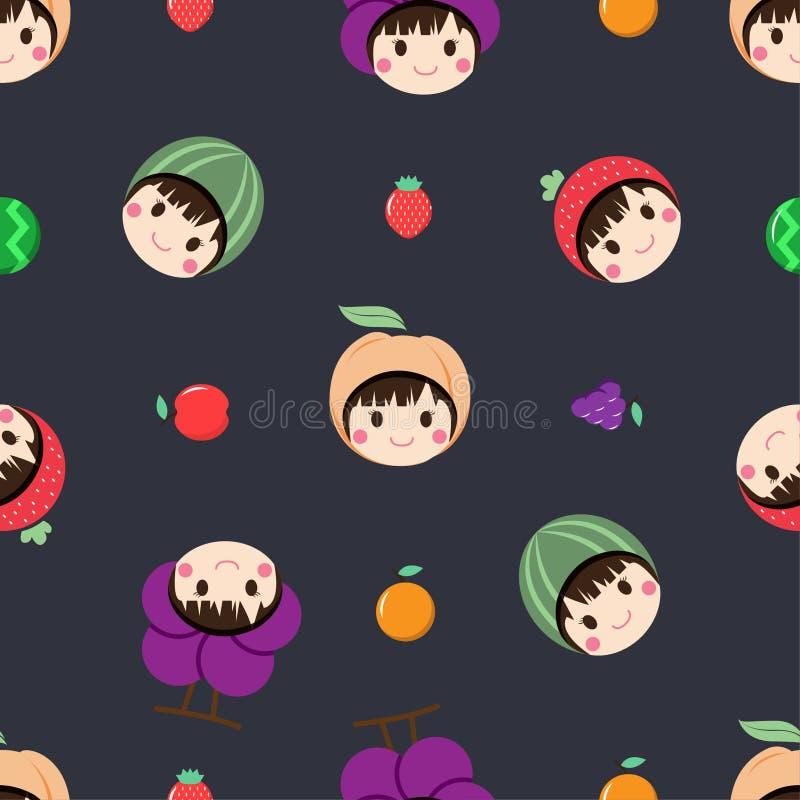 El modelo inconsútil con la colección de mujer está llevando un sombrero de la fruta en su cabeza y el sistema de fruta en el fon libre illustration