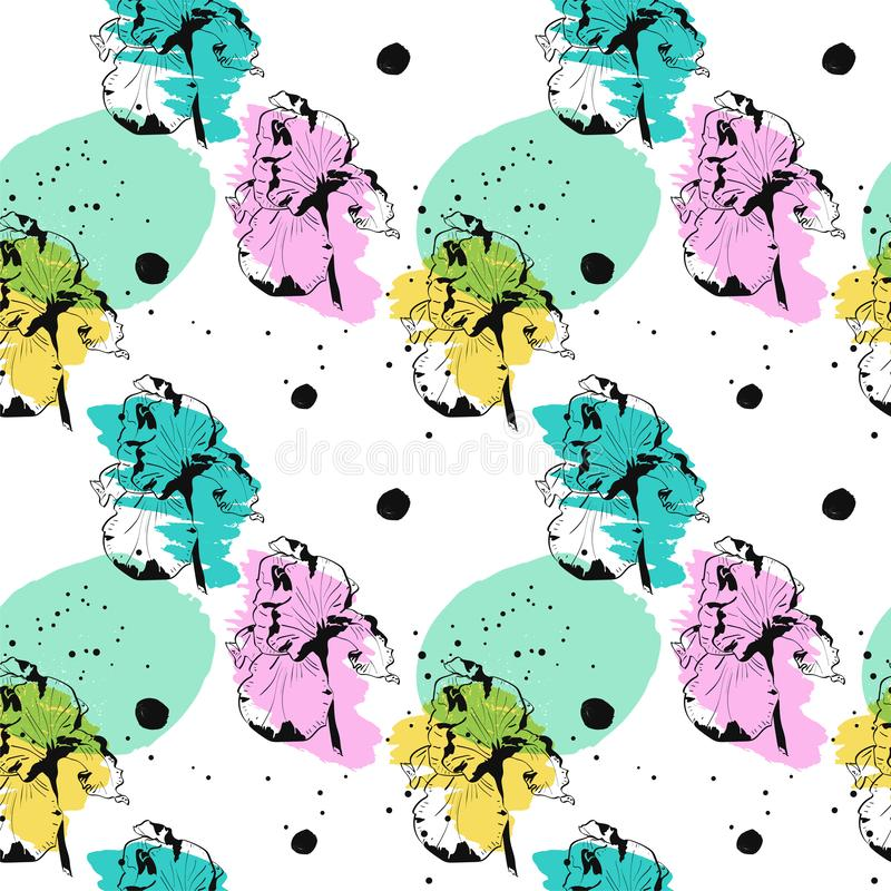 El modelo inconsútil con la flor del iris en acuarela salpica en el fondo blanco ilustración del vector