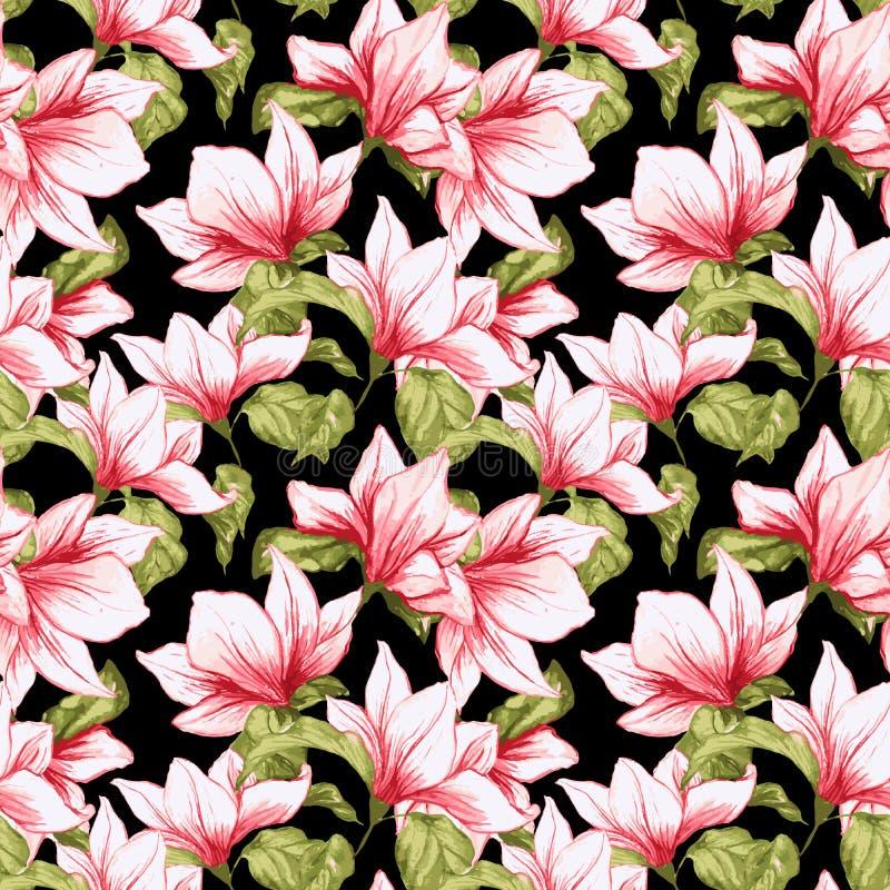 El modelo inconsútil con la magnolia florece en el fondo negro stock de ilustración