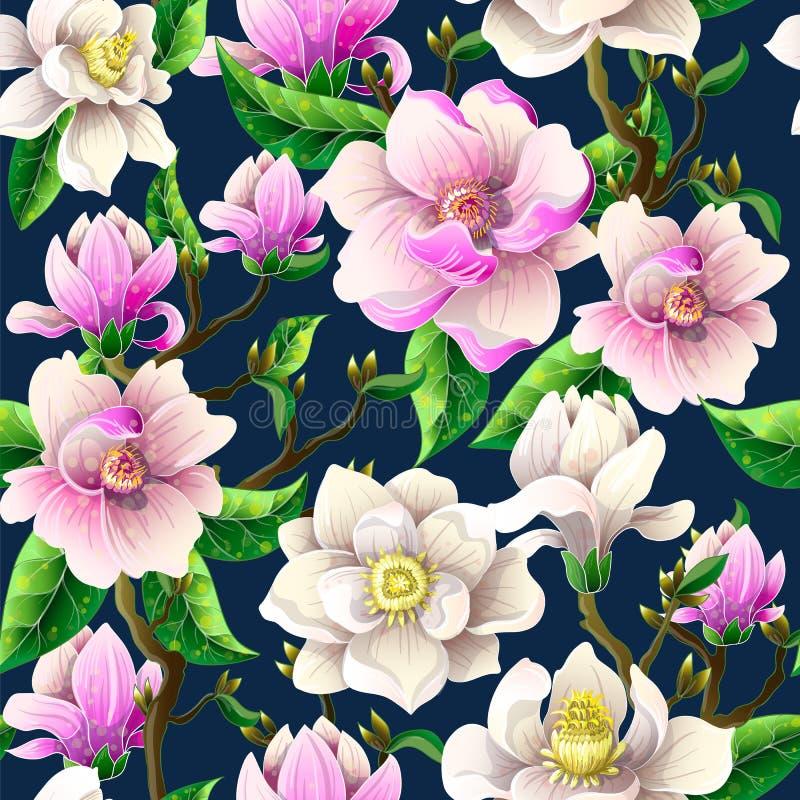 El modelo inconsútil con la magnolia florece en un fondo azul Ilustración del vector ilustración del vector