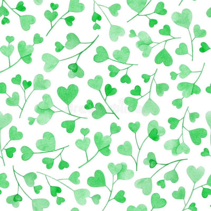 El modelo inconsútil con la mano de la acuarela dibujada ramifica con las hojas en forma de corazón verdes aisladas en el fondo b libre illustration