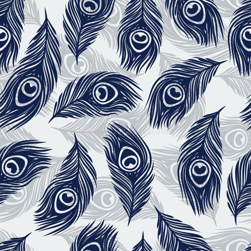 El modelo inconsútil con la mano dibujada empluma el pavo real libre illustration