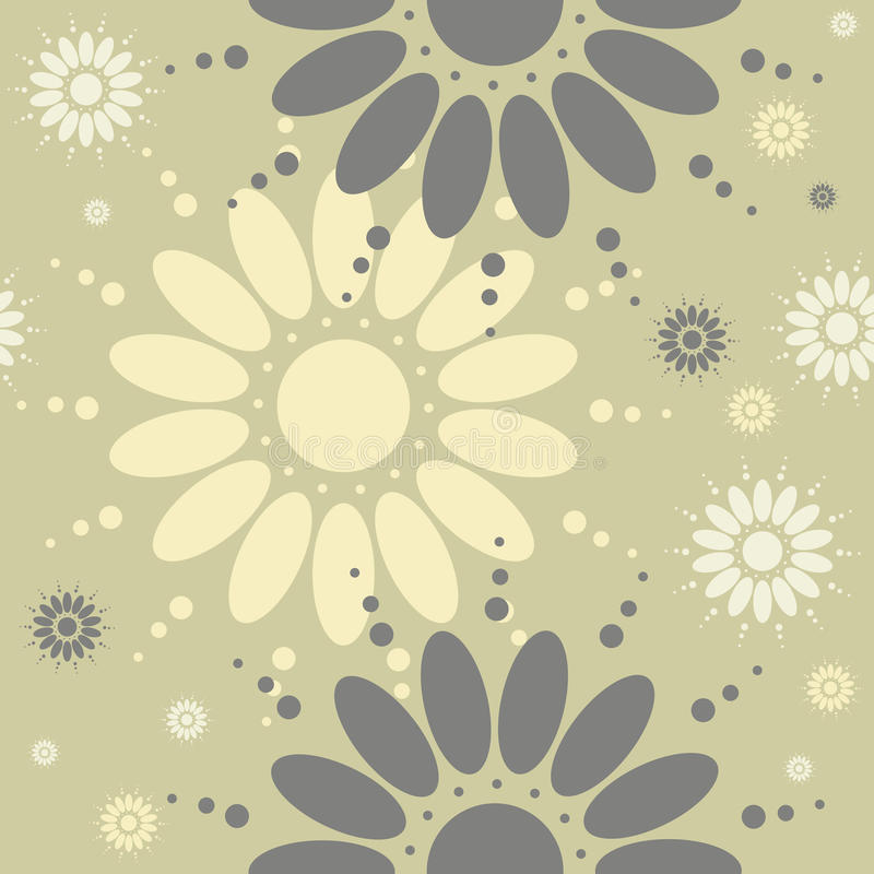 El modelo inconsútil con la manzanilla florece en backgroun verde claro ilustración del vector