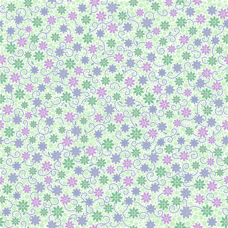 El modelo inconsútil con la pequeña margarita apacible florece en el rosa, verde ilustración del vector