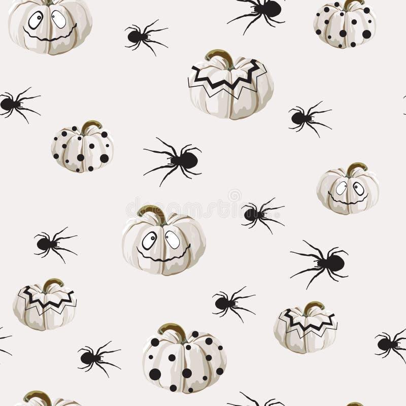 El modelo inconsútil con las calabazas blancas de Halloween talló caras y la araña en fondo ligero ilustración del vector