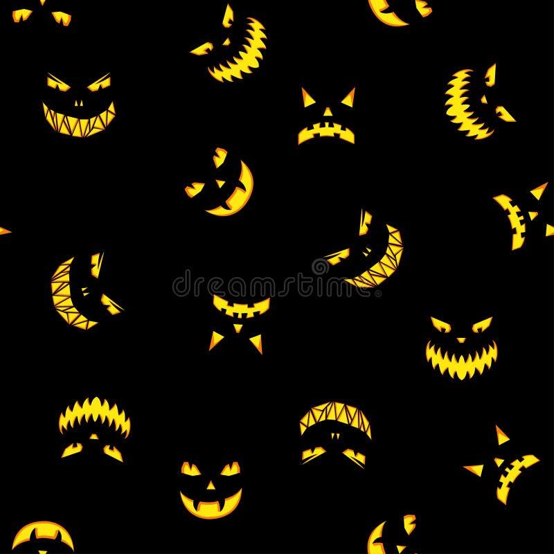 El modelo inconsútil con las calabazas de Halloween talló la silueta de las caras stock de ilustración