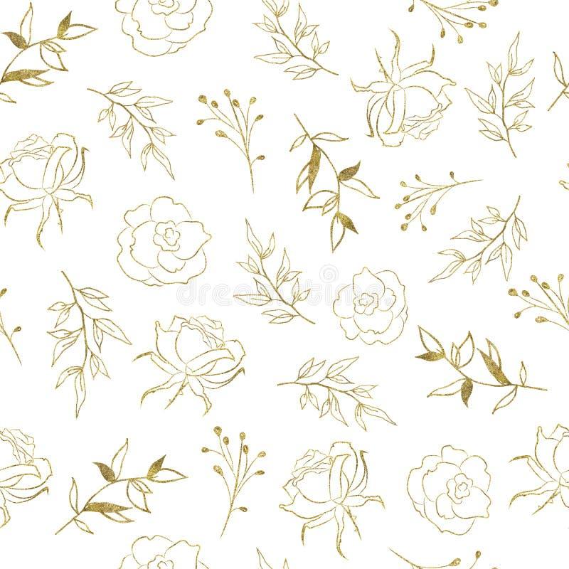 El modelo inconsútil con las flores tropicales de las hojas del oro subió ilustración del vector
