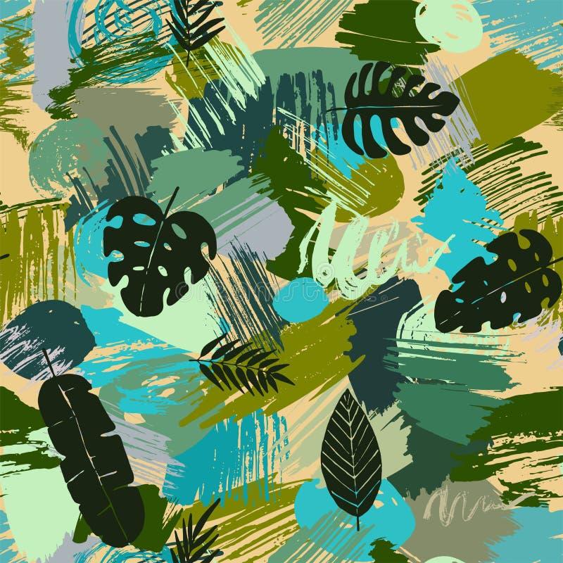 El modelo inconsútil con las hojas tropicales en acuarela abstracta mancha ilustración del vector
