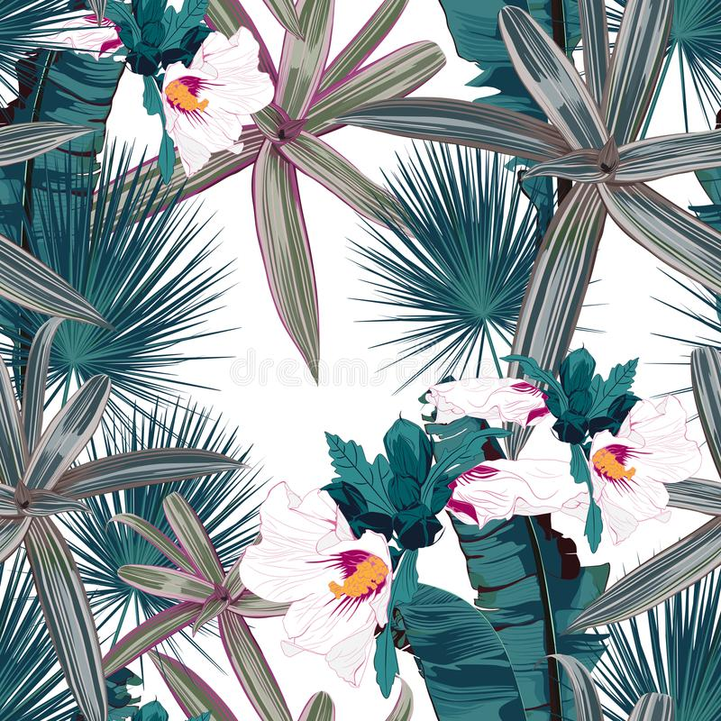 El modelo inconsútil con las hojas y el hibisco tropicales florece Hojas de palma oscuras y verdes claras en el fondo blanco ilustración del vector
