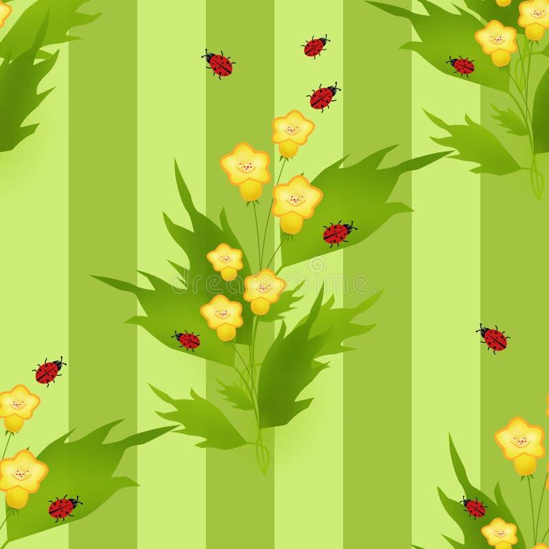 El modelo inconsútil con las mariquitas y las flores embroma el fondo stock de ilustración