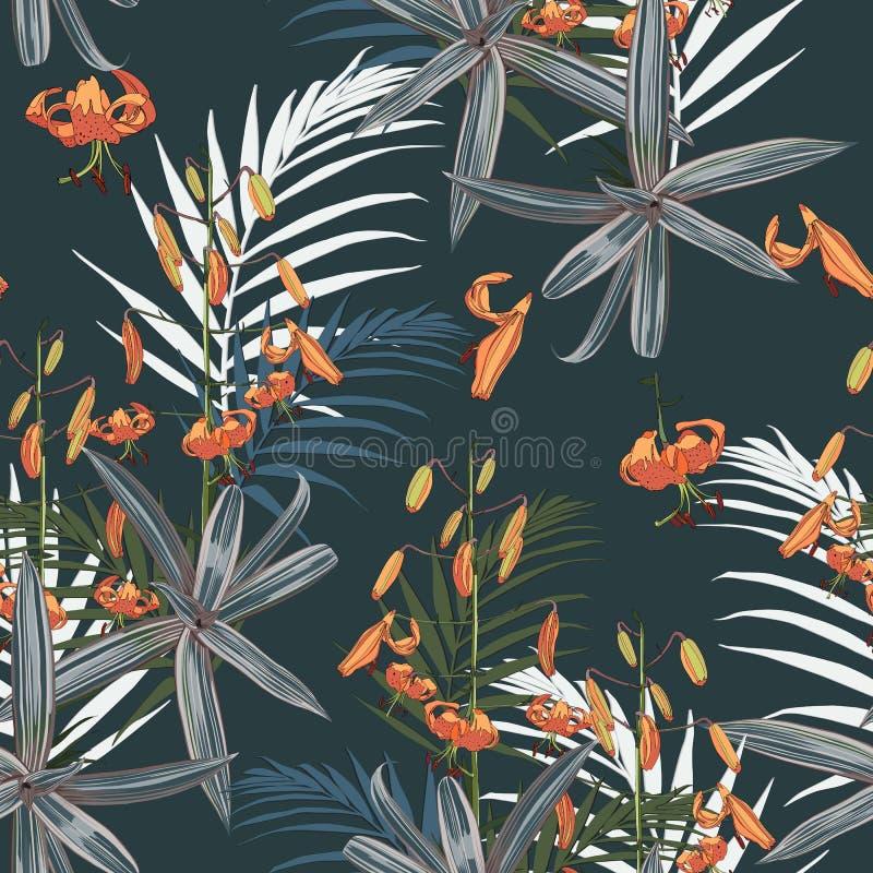 El modelo inconsútil con las palmas y los lirios tropicales exóticos florece en el fondo oscuro ilustración del vector