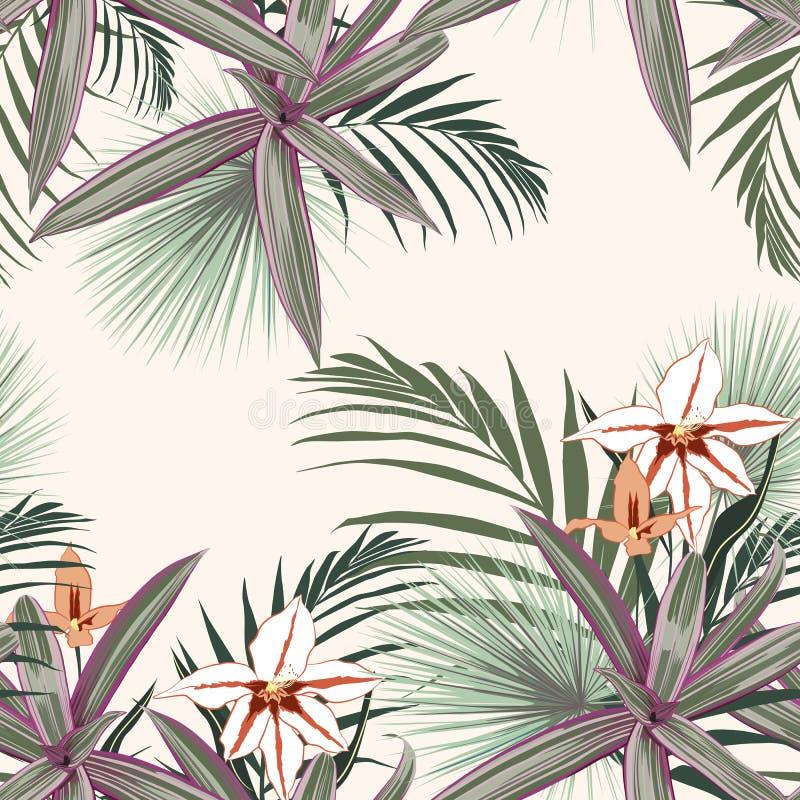 El modelo inconsútil con las plantas tropicales exóticas, orquídea florece Plantas tropicales rosadas en el fondo amarillo claro libre illustration
