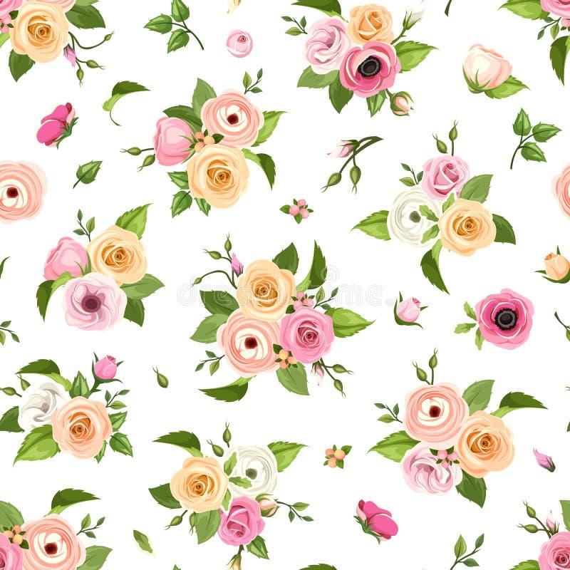 El modelo inconsútil con las rosas rosadas, anaranjadas y blancas, los lisianthuses, las anémonas y el ranúnculo florece Ilustrac ilustración del vector
