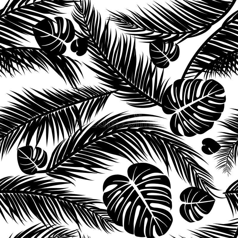 El modelo inconsútil con las siluetas de la palmera se va en negro en el fondo blanco libre illustration