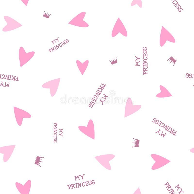 El modelo inconsútil con los corazones, las coronas y la inscripción rosados Vector stock de ilustración
