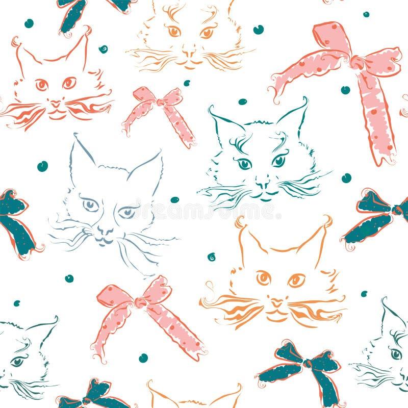 El modelo inconsútil con los gatos y la cinta arquea en el fondo blanco libre illustration