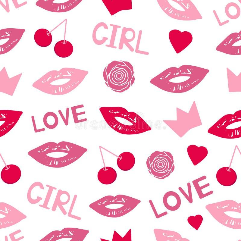 El modelo inconsútil con los labios coloridos, flores, coronas, cerezas, palabras ama y muchacha, corazones ilustración del vector