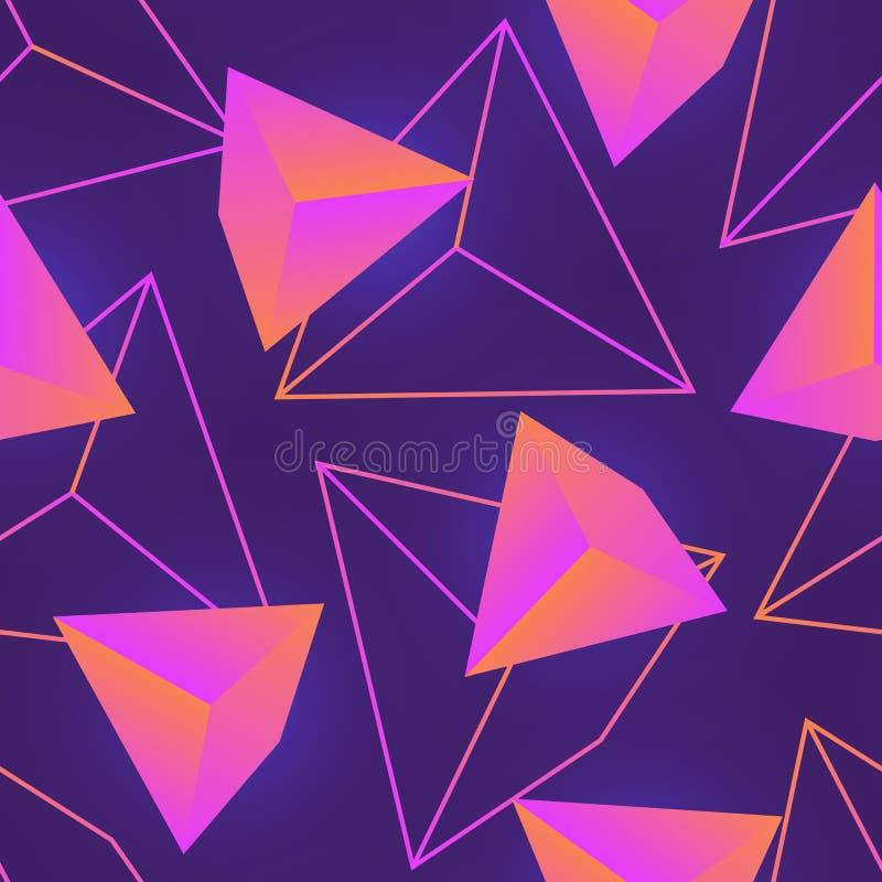 El modelo inconsútil con el neón coloreó las piedras preciosas, los cristales o las pirámides minerales y sus esquemas en fondo p libre illustration
