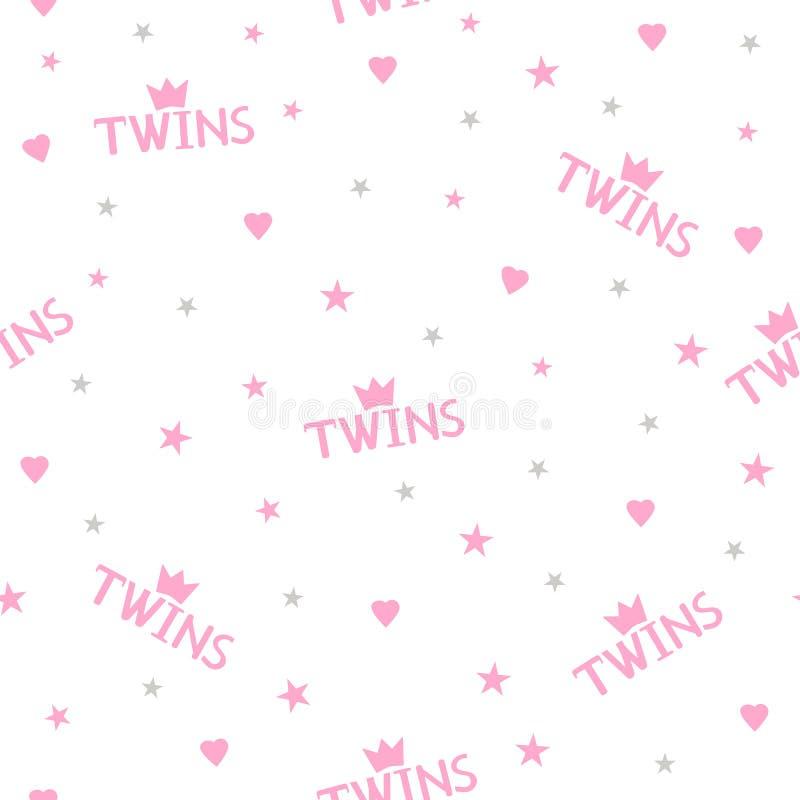 El modelo inconsútil con palabras rosadas hermana, las coronas, los corazones y las estrellas ilustración del vector