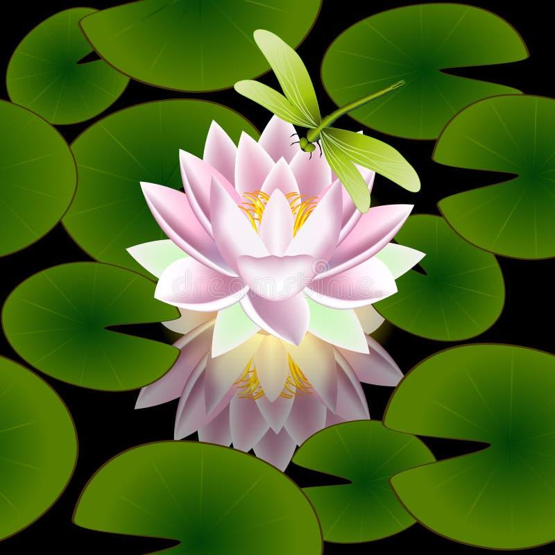 El modelo inconsútil con una flor de loto se va y libélula en un fondo negro ilustración del vector