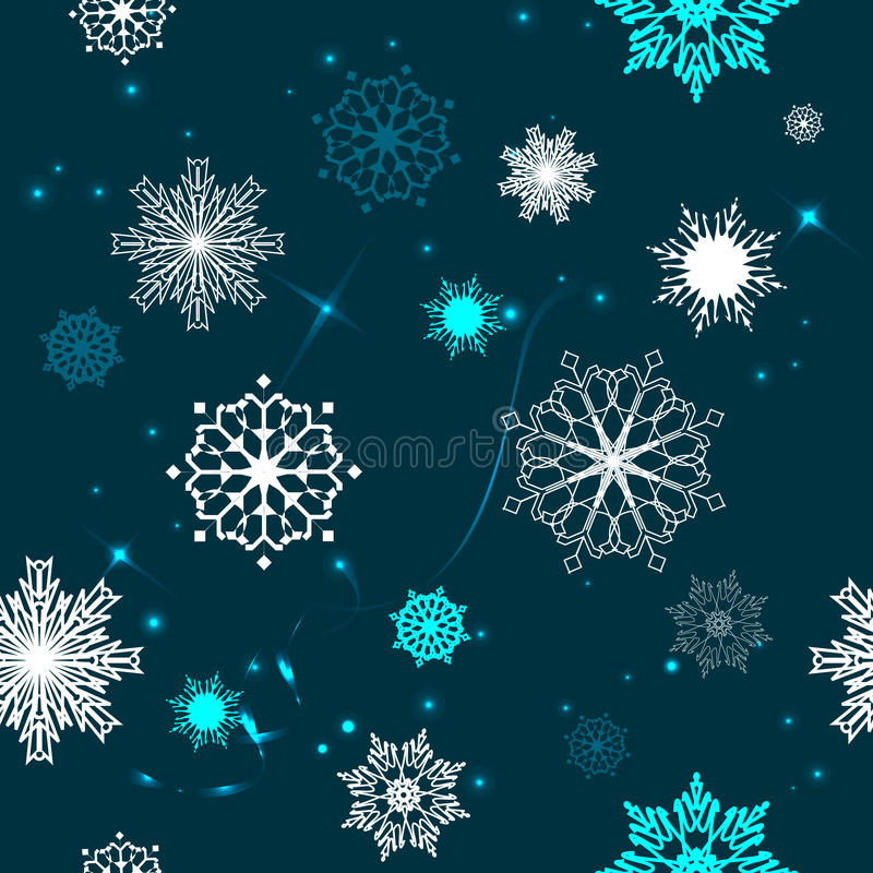 El modelo inconsútil de copos de nieve en un fondo azul imagenes de archivo