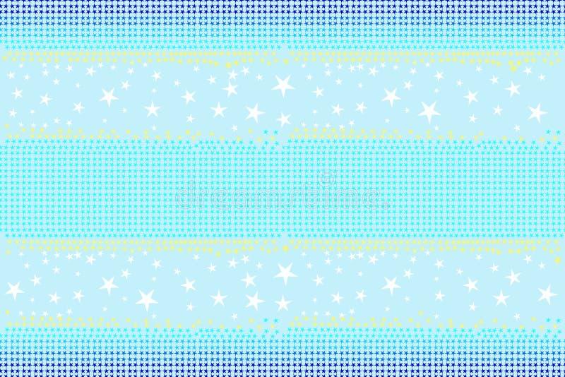 El modelo inconsútil de estrellas forma en colores azules, blancos, amarillos en el fondo ligero del azul de cielo, color en colo stock de ilustración