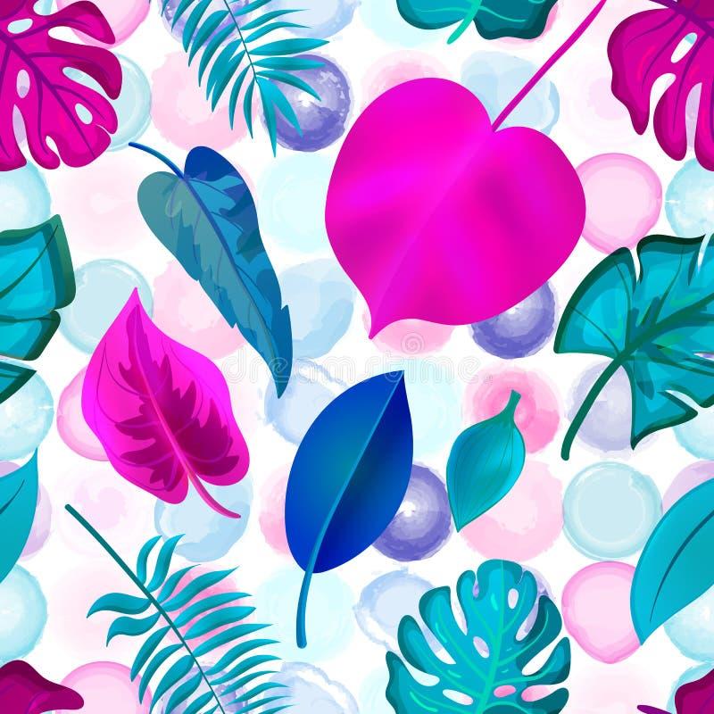 El modelo inconsútil de hojas tropicales en la acuarela punteó al CCB libre illustration