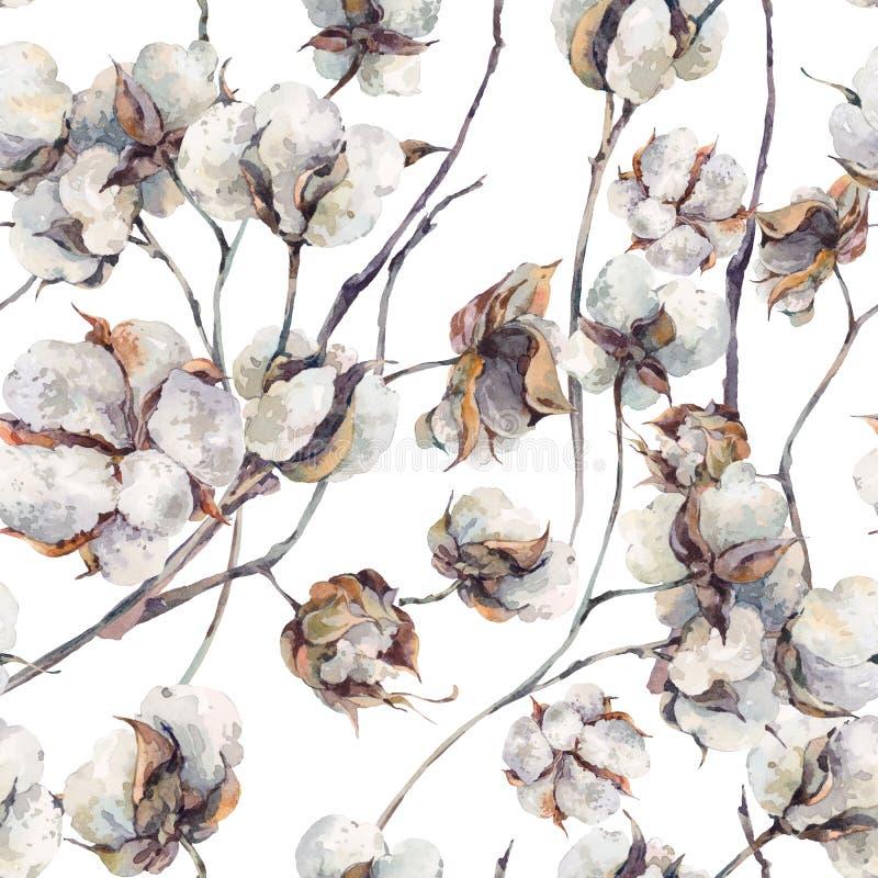 El modelo inconsútil de la acuarela con las ramitas y el algodón florece stock de ilustración