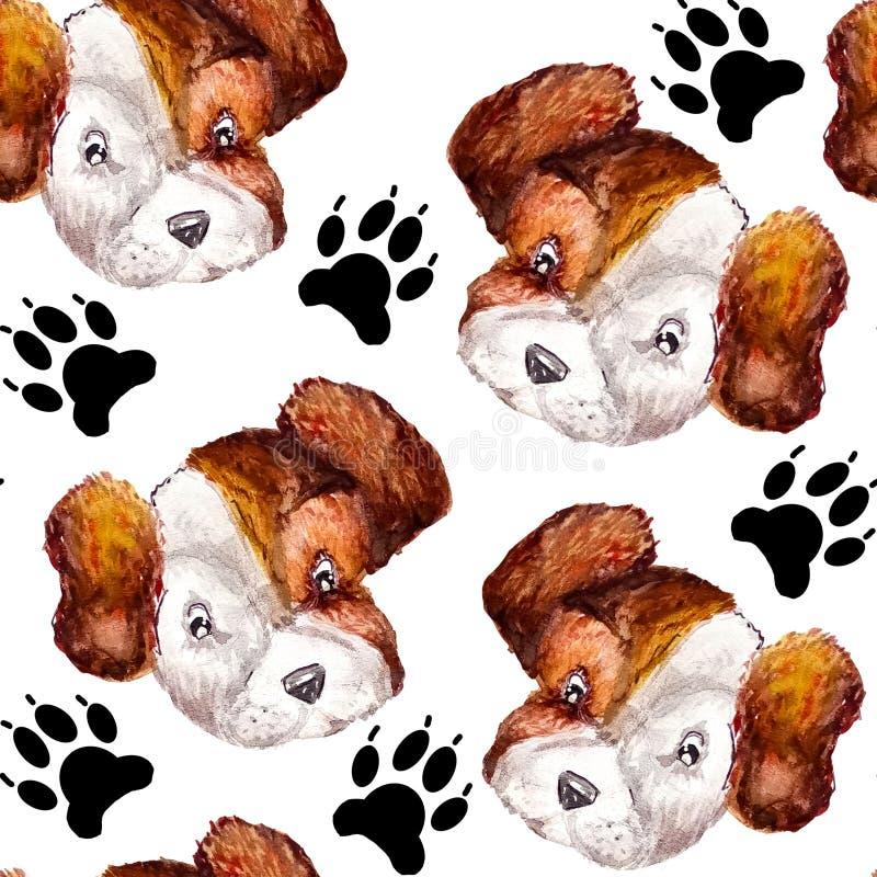 El modelo inconsútil de la acuarela del perrito de las impresiones de la pata del negro del perrito y de los retratos del blanco  libre illustration