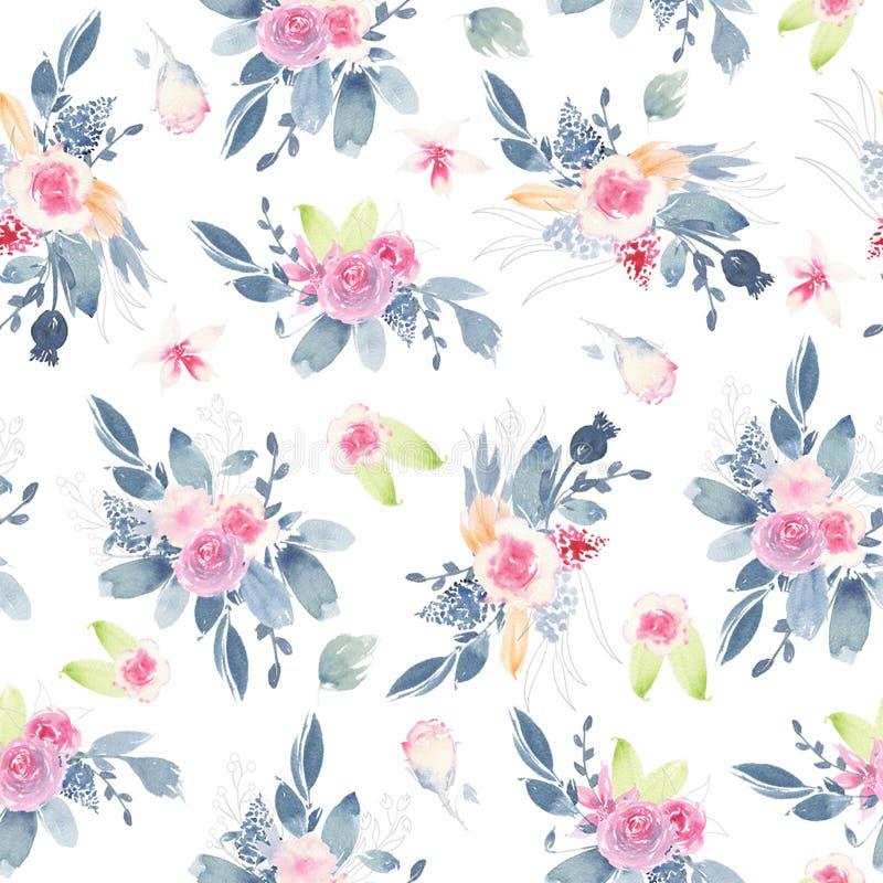 El modelo inconsútil de la acuarela pintado a mano con la peonía del rosa de la flor subió las hojas stock de ilustración