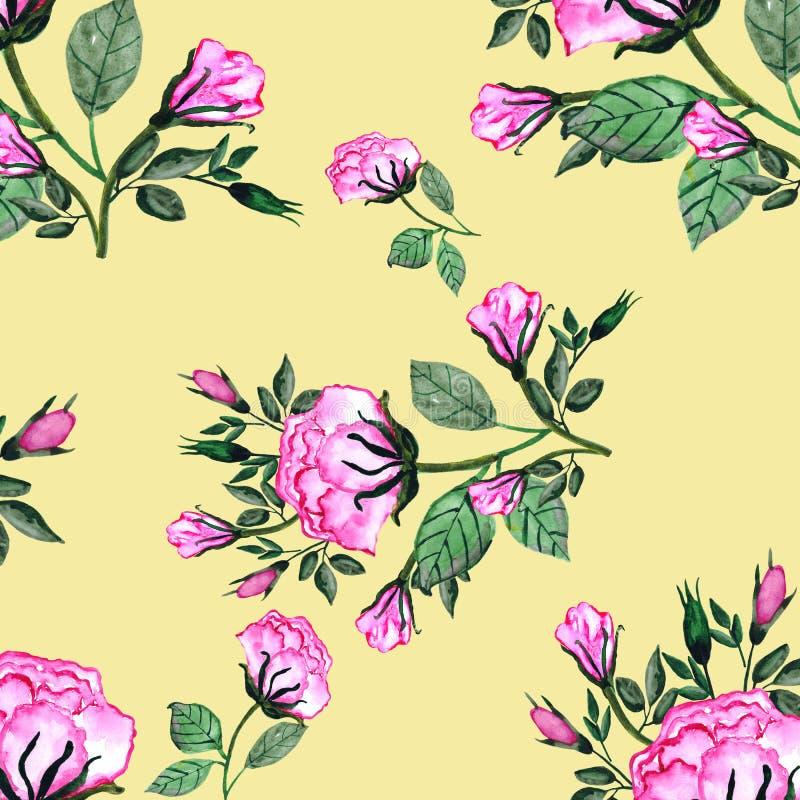 El modelo inconsútil de la acuarela un ramo de rosas y de brotes es 3 Tarjeta de la invitación para una boda, el cumpleaños y otr ilustración del vector