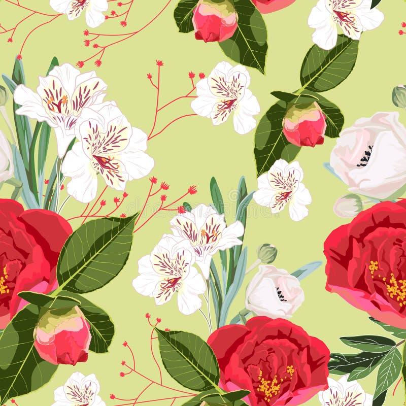 El modelo inconsútil de la flor con las peonías rojas de la flora salvaje exhausta de la mano florece y los lirios blancos ilustración del vector
