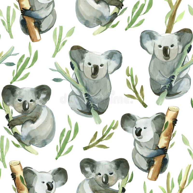 El modelo inconsútil de la koala de la acuarela está sosteniendo el bambú stock de ilustración