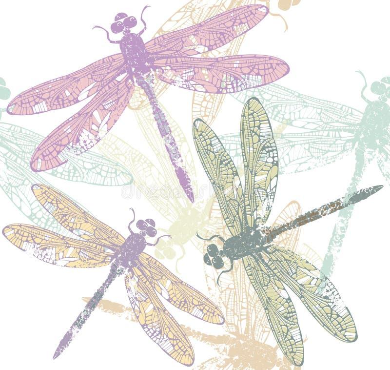 El modelo inconsútil de la libélula stock de ilustración