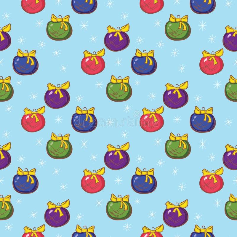 El modelo inconsútil de la Navidad con el árbol de navidad coloreado juega en a stock de ilustración