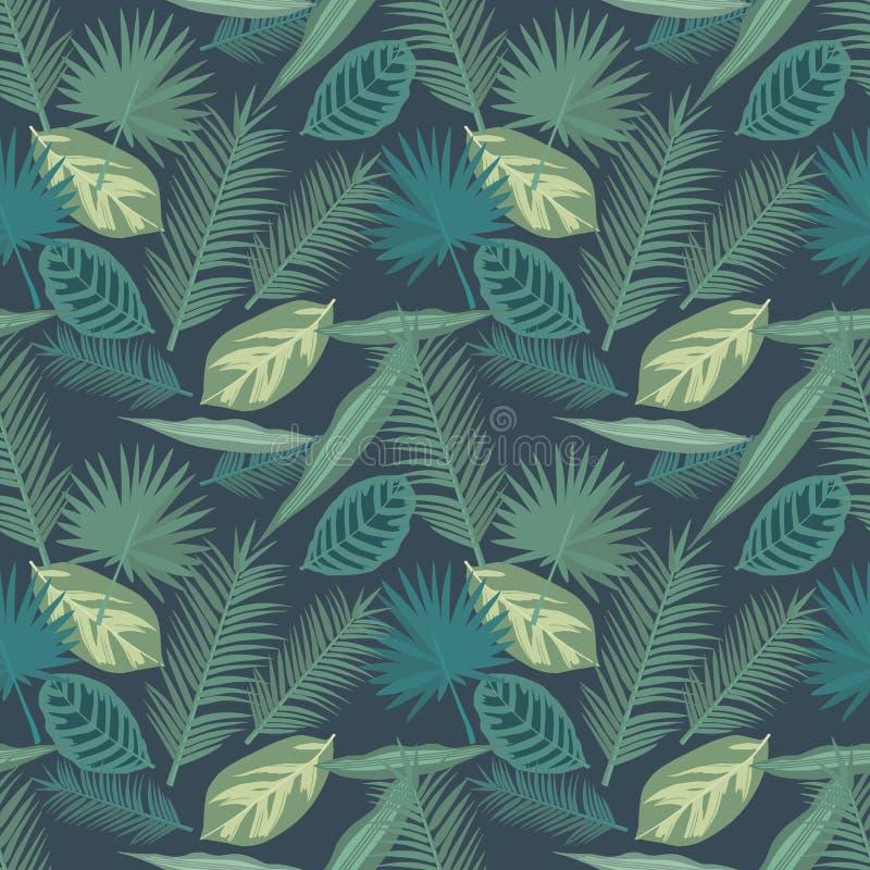 El modelo inconsútil de la planta tropical de la palma y del rezo de Calathea se va en fondo oscuro libre illustration