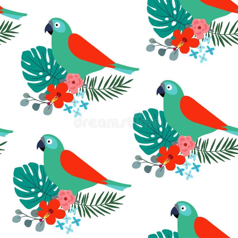 El modelo inconsútil de la selva tropical con el pájaro, las hojas de palma y el hibisco del loro florece Diseño plano, ejemplo d stock de ilustración
