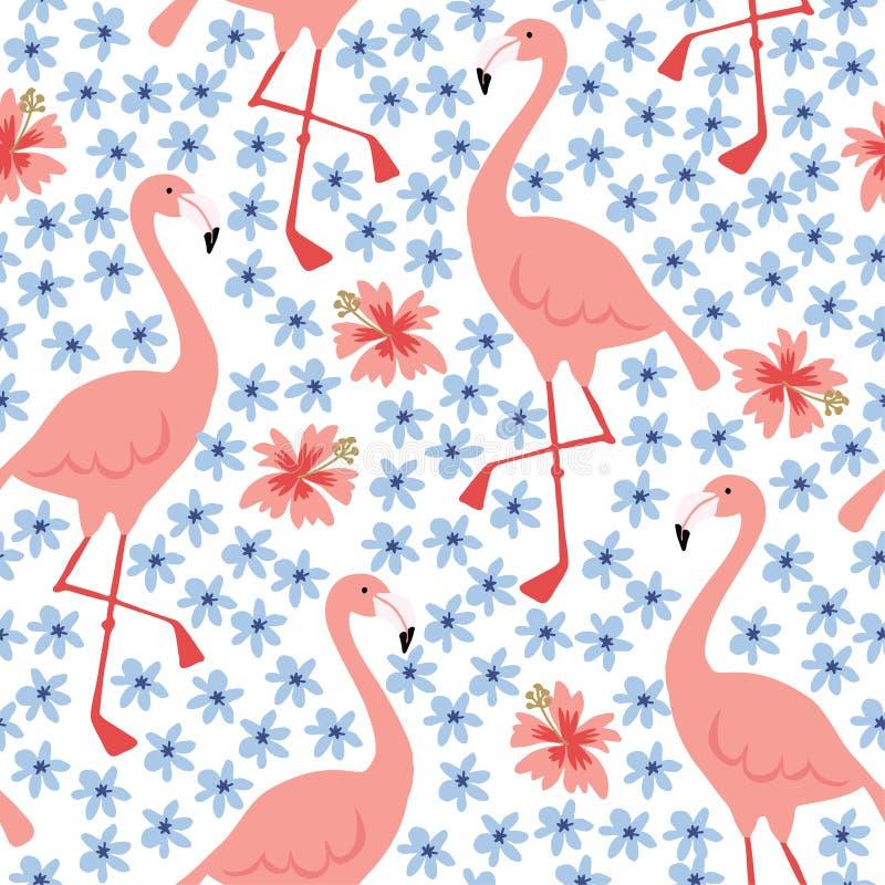 El modelo inconsútil de la selva tropical con el pájaro y el hibisco dibujados mano del flamenco florece Tela del verano, diseño  libre illustration